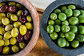 Olives lovely juicy fat from the mediterranean in rustic bowl Stock Images