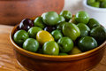 Olives lovely juicy fat from the mediterranean in rustic bowl Stock Photography