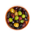 Olives marinated mixed in the bowl Royalty Free Stock Photos