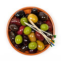 Olives marinated mixed in the bowl Stock Photos
