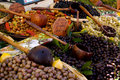 Olives on a Market stall Stock Images