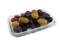 Olives mixed in glass dish on white background Royalty Free Stock Image