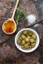 Olives, Oil and Salt Stock Photos