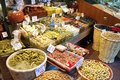 Olives pickles and salads assortment of in istanbul spice bazaar Royalty Free Stock Photography