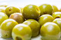 Olives in a plate isolate on white Royalty Free Stock Image