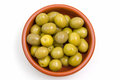 Olives on rustic bowl from above Royalty Free Stock Photo