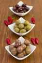 Olives in small bowls Stock Photos
