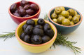 Olives three different bowls of Stock Photo