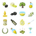 Olives, tree, branch and other products from olives.Olives set collection icons in cartoon style vector symbol stock