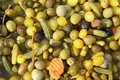 Olives varied colorful texture on market Royalty Free Stock Photography