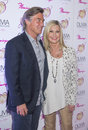 Olivia newton john summer nights las vegas april entertainer and her husband easterling attends the grand opening of her residency Royalty Free Stock Image