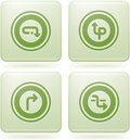 Olivine Square 2D Icons Set: Abstract & Directions Royalty Free Stock Images
