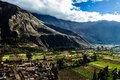 Ollantaytambo - old Inca fortress and town the hills of the Sacred Valley (Valle Sagrado) in the Andes mountains of Peru, South Am Royalty Free Stock Photo