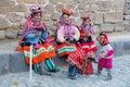 Ollantaytambo, Peru - circa June 2015: Women and children in traditional Peruvian clothes in Ollantaytambo,  Peru Royalty Free Stock Photo