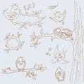 Сollection of funny birds. line art. Hand-drawing. buttons web design Royalty Free Stock Photo
