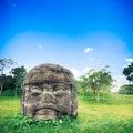 Olmec colossal head in the city of La Venta, Tabasco Royalty Free Stock Photo