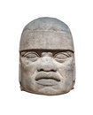 Olmec colossal head isolated ancient Stock Images