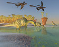 Olorotitan in swamp a family of dinosaurs eat duckweed a large as two archaeopteryx birds fly over Royalty Free Stock Photos
