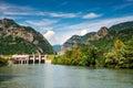 Olt river in carpathian mountains romania scenery with longest cozia gorge range eastern europe landscape Royalty Free Stock Photos