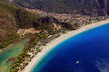Oludeniz coastline paragliding aerial view of resort looking down on beach and blue sea mulgla turkey Royalty Free Stock Photo