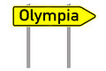Olympia signpost with the word isolated over a white background Stock Image