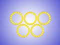 Olympiad yellow olympic rings sports event Royalty Free Stock Image