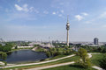 Olympiapark olympic park olympic lake olympiaturm olympic tower munich germany Royalty Free Stock Photo