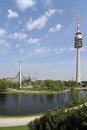 Olympiapark olympic park olympic lake olympiaturm olympic tower munich germany Stock Photo