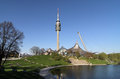 Olympiapark olympic park olympic lake olympiaturm olympic tower munich germany Stock Image