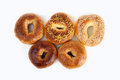 Olympic bagel bagels on white background Royalty Free Stock Images