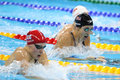 Olympic champion Madeline Dirado of United States swims the Women`s 200m Individual Medley Heat 3 of Rio 2016 Olympic Games Royalty Free Stock Photo