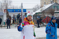 Olympic flag in voronezh russian sportsmans carry the torch Stock Photos