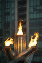 Olympic flame in vancouver canada february the cauldron s is lit at s jack poole plaza the has been re lit to Royalty Free Stock Image