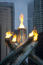 Olympic flame in vancouver canada february the cauldron s is lit at s jack poole plaza the has been re lit to Royalty Free Stock Photo
