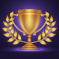 Olympic gold trophy cup award for sport winner with laurel wreath vector illustration Royalty Free Stock Photo