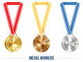 Olympic Medal with Ribbon Set, Vector Illustration Royalty Free Stock Photo