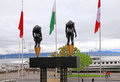 Olympic museum in lausanne switzerland on lake geneva may statue of torso of man and woman at Royalty Free Stock Photo