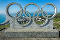 Olympic Rings and Chesil Beach in Dorset, UK Royalty Free Stock Photo