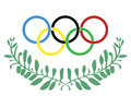 Olympic rings in olive wreath Royalty Free Stock Photo