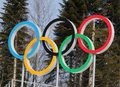 Olympic rings sochi russia february on cross country ski center laura at sochi xxii winter games Royalty Free Stock Photo