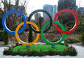 Olympic rings on the square sochi russua jan of capital of winter olympics in Royalty Free Stock Photo