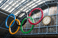 Olympic rings at St Pancras station Stock Photography