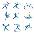 Olympic sports icons colorful and illustrations with vector illustration Royalty Free Stock Photo
