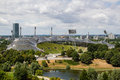 Olympic stadium munich photo of in taken from top of the hill in parc Royalty Free Stock Images