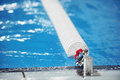 Olympic swimming pool lane divider Royalty Free Stock Photo