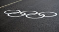 Olympic temporary markings on a dedicated lane for accredited transport russia sochi january the asphalt road the winter Royalty Free Stock Photos