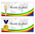 Olympic text frames with torch and medal Royalty Free Stock Image