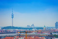 The olympic tower in munich bavaria germany panoramic city view of with and skyline Stock Image