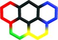 Olympicene molecular structure on white five ring molecule sports and science Stock Image