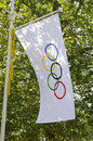 Olympisk flagga i London Royaltyfri Bild